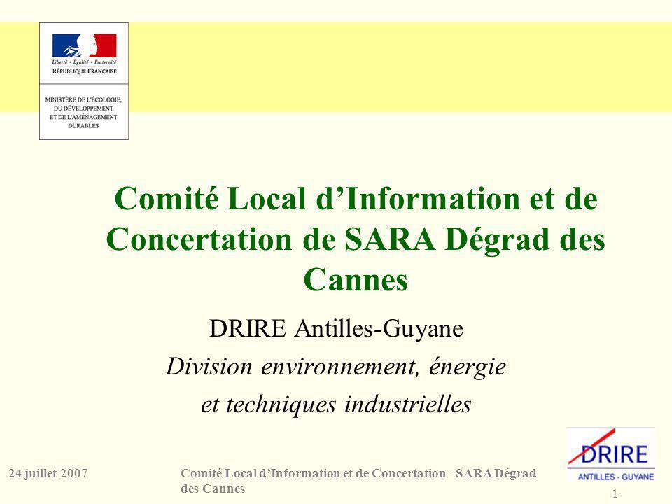 1 Comité Local dInformation et de Concertation - SARA Dégrad des Cannes 24 juillet 2007 Comité Local dInformation et de Concertation de SARA Dégrad des Cannes DRIRE Antilles-Guyane Division environnement, énergie et techniques industrielles