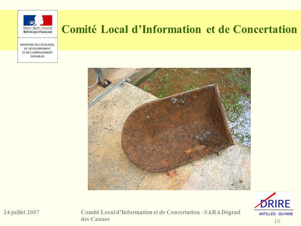 10 Comité Local dInformation et de Concertation - SARA Dégrad des Cannes 24 juillet 2007 Comité Local dInformation et de Concertation