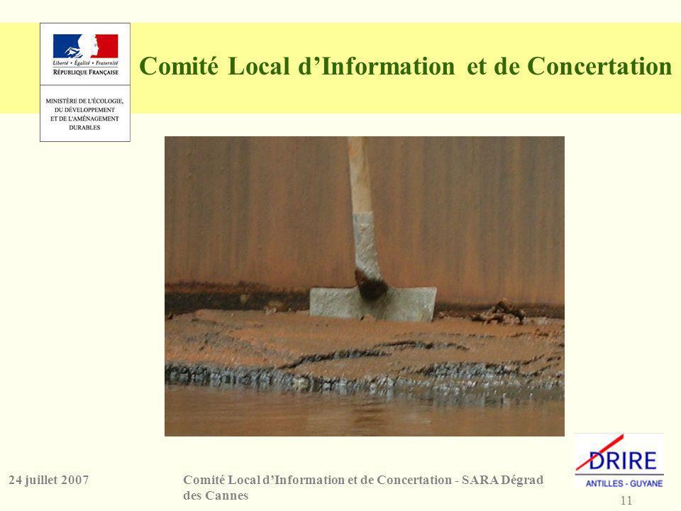 11 Comité Local dInformation et de Concertation - SARA Dégrad des Cannes 24 juillet 2007 Comité Local dInformation et de Concertation