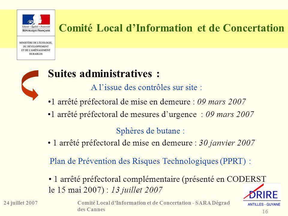 16 Comité Local dInformation et de Concertation - SARA Dégrad des Cannes 24 juillet 2007 Comité Local dInformation et de Concertation Suites administratives : Plan de Prévention des Risques Technologiques (PPRT) : Sphères de butane : A lissue des contrôles sur site : 1 arrêté préfectoral complémentaire (présenté en CODERST le 15 mai 2007) : 13 juillet 2007 1 arrêté préfectoral de mise en demeure : 30 janvier 2007 1 arrêté préfectoral de mesures durgence : 09 mars 2007 1 arrêté préfectoral de mise en demeure : 09 mars 2007