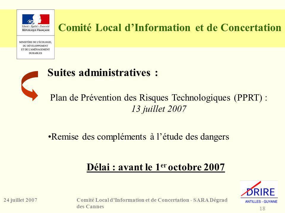 18 Comité Local dInformation et de Concertation - SARA Dégrad des Cannes 24 juillet 2007 Comité Local dInformation et de Concertation Suites administratives : Délai : avant le 1 er octobre 2007 Remise des compléments à létude des dangers Plan de Prévention des Risques Technologiques (PPRT) : 13 juillet 2007