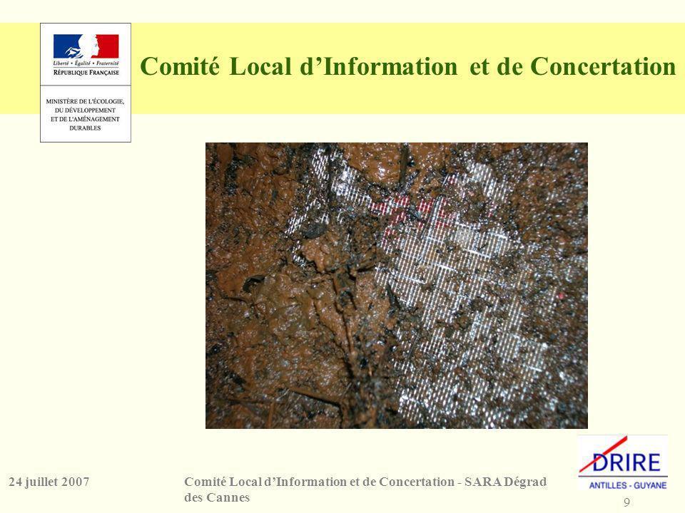 9 Comité Local dInformation et de Concertation - SARA Dégrad des Cannes 24 juillet 2007 Comité Local dInformation et de Concertation