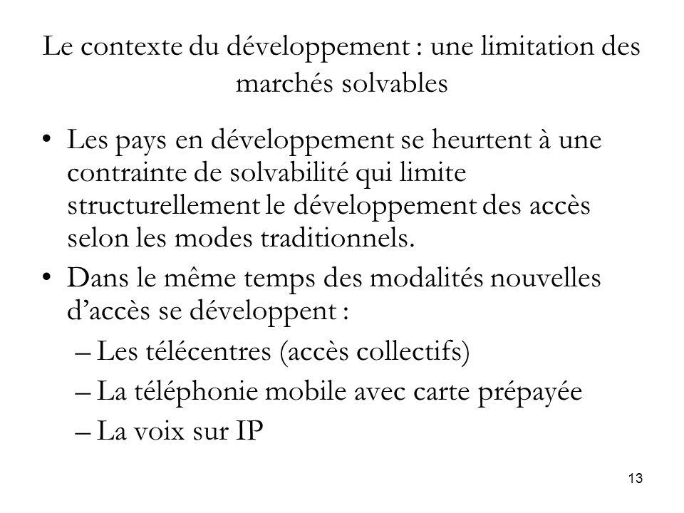 13 Le contexte du développement : une limitation des marchés solvables Les pays en développement se heurtent à une contrainte de solvabilité qui limite structurellement le développement des accès selon les modes traditionnels.
