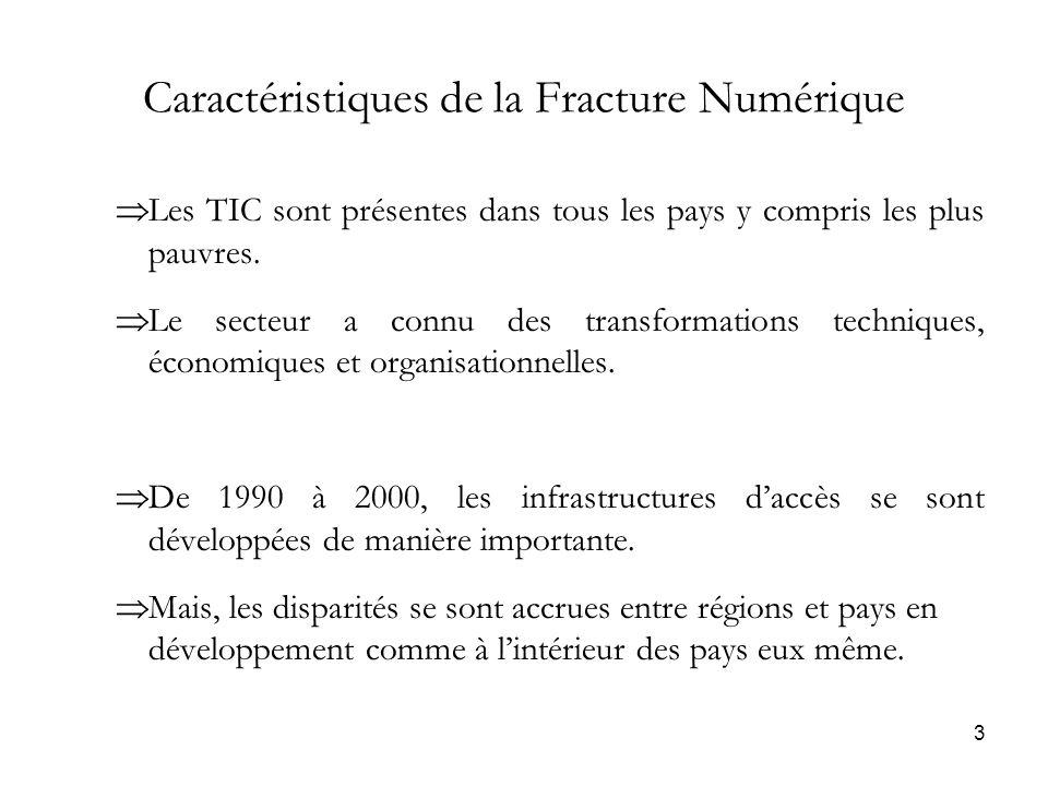 3 Caractéristiques de la Fracture Numérique Les TIC sont présentes dans tous les pays y compris les plus pauvres.