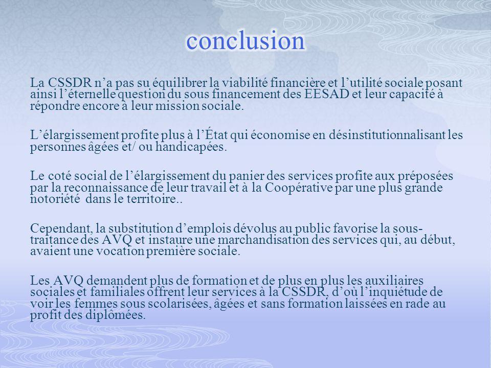 La CSSDR na pas su équilibrer la viabilité financière et lutilité sociale posant ainsi léternelle question du sous financement des EESAD et leur capac