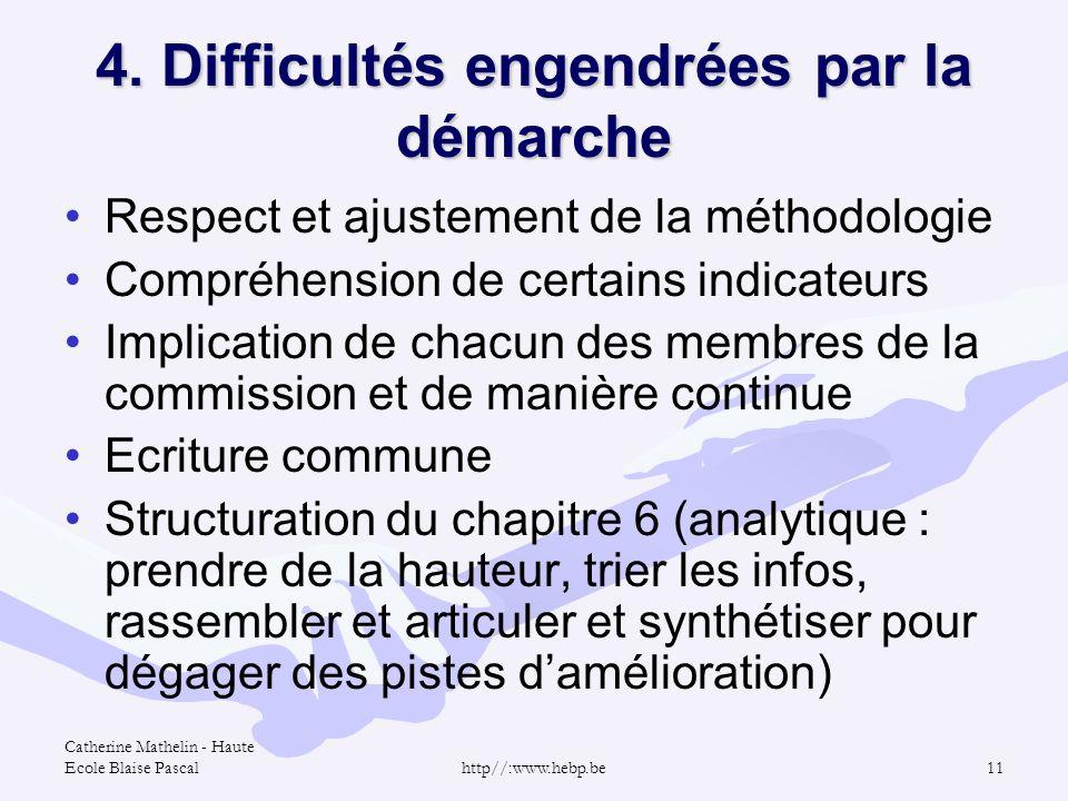 Catherine Mathelin - Haute Ecole Blaise Pascalhttp//:www.hebp.be11 4. Difficultés engendrées par la démarche Respect et ajustement de la méthodologie