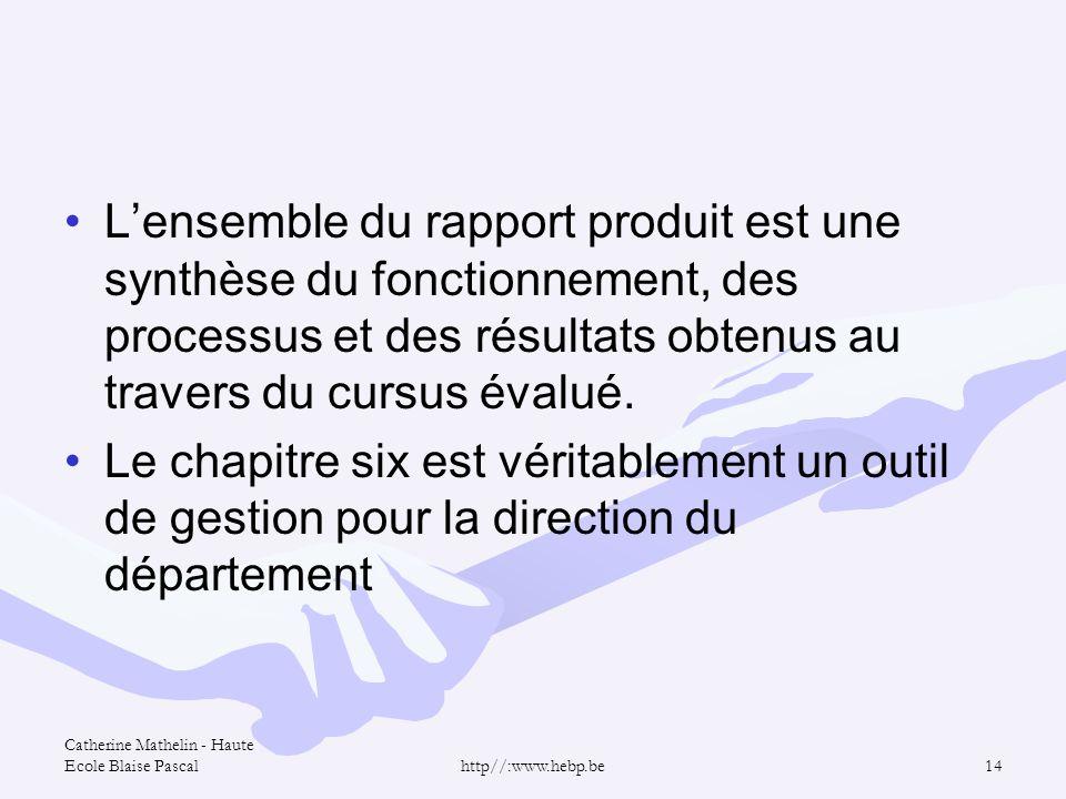 Catherine Mathelin - Haute Ecole Blaise Pascalhttp//:www.hebp.be14 Lensemble du rapport produit est une synthèse du fonctionnement, des processus et d