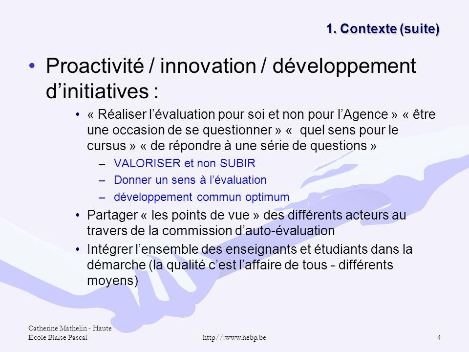 Catherine Mathelin - Haute Ecole Blaise Pascalhttp//:www.hebp.be4 1. Contexte (suite) 1. Contexte (suite) Proactivité / innovation / développement din