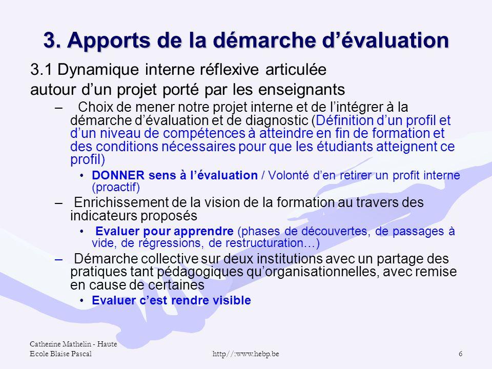 Catherine Mathelin - Haute Ecole Blaise Pascalhttp//:www.hebp.be6 3. Apports de la démarche dévaluation 3.1 Dynamique interne réflexive articulée auto