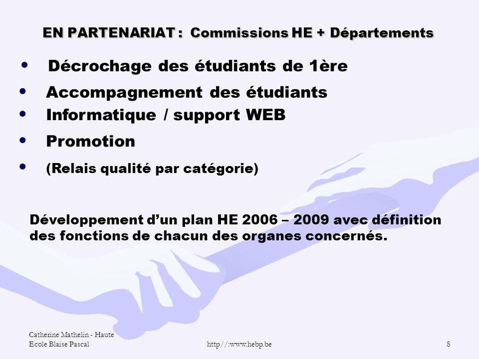 Catherine Mathelin - Haute Ecole Blaise Pascalhttp//:www.hebp.be8 EN PARTENARIAT : Commissions HE + Départements Décrochage des étudiants de 1ère Acco