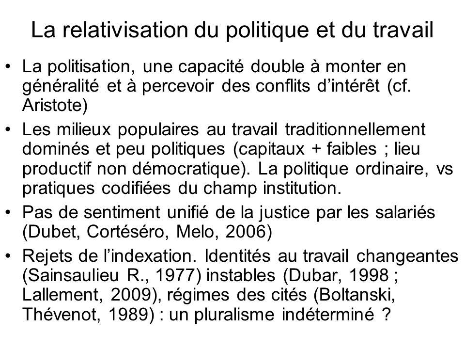 La relativisation du politique et du travail La politisation, une capacité double à monter en généralité et à percevoir des conflits dintérêt (cf.