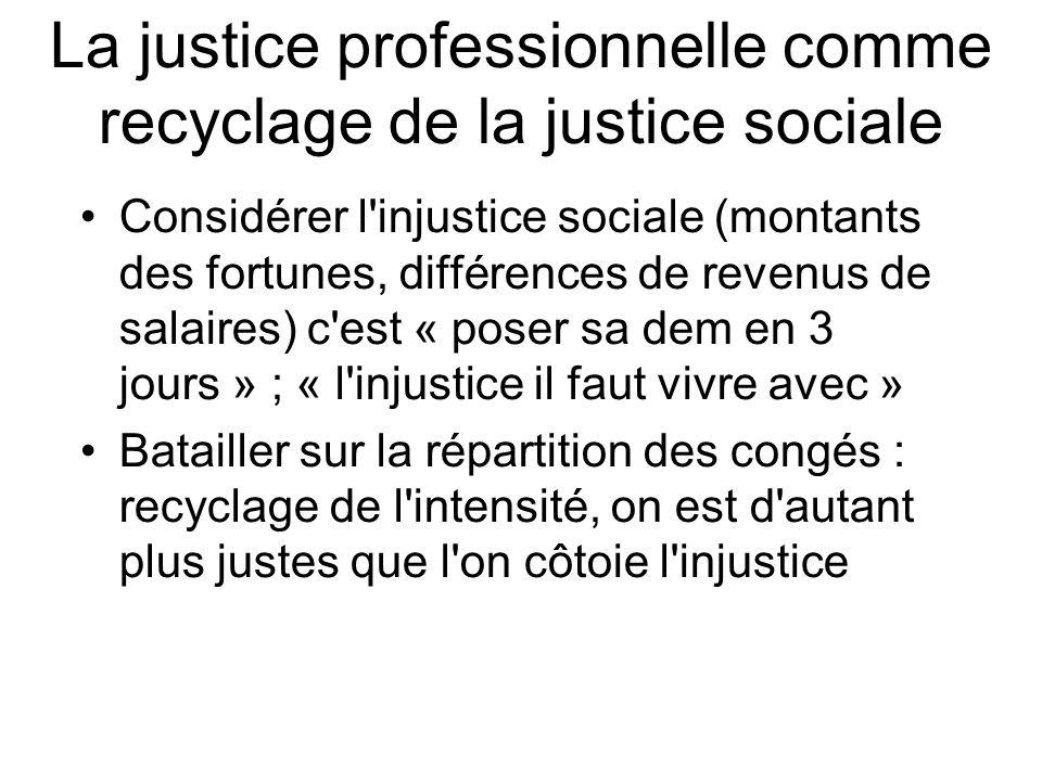 La justice professionnelle comme recyclage de la justice sociale Considérer l injustice sociale (montants des fortunes, différences de revenus de salaires) c est « poser sa dem en 3 jours » ; « l injustice il faut vivre avec » Batailler sur la répartition des congés : recyclage de l intensité, on est d autant plus justes que l on côtoie l injustice