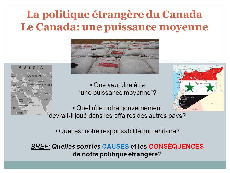 La politique étrangère du Canada Le Canada: une puissance moyenne Que veut dire être une puissance moyenne? Quel rôle notre gouvernement devrait-il jo