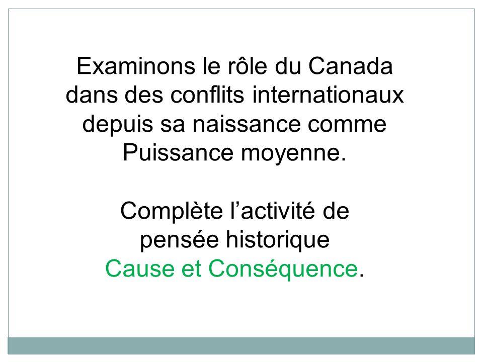 Examinons le rôle du Canada dans des conflits internationaux depuis sa naissance comme Puissance moyenne.