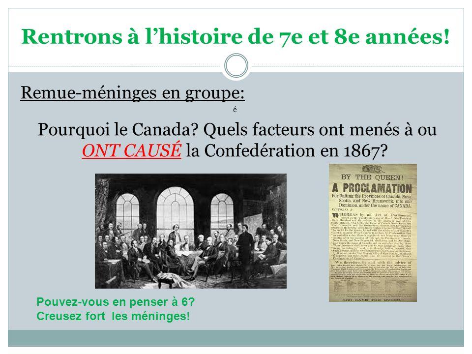 Rentrons à lhistoire de 7e et 8e années! Remue-méninges en groupe: é Pourquoi le Canada? Quels facteurs ont menés à ou ONT CAUSÉ la Confedération en 1