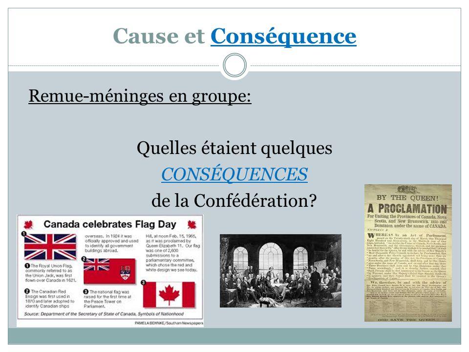 Cause et Conséquence Remue-méninges en groupe: Quelles étaient quelques CONSÉQUENCES de la Confédération?