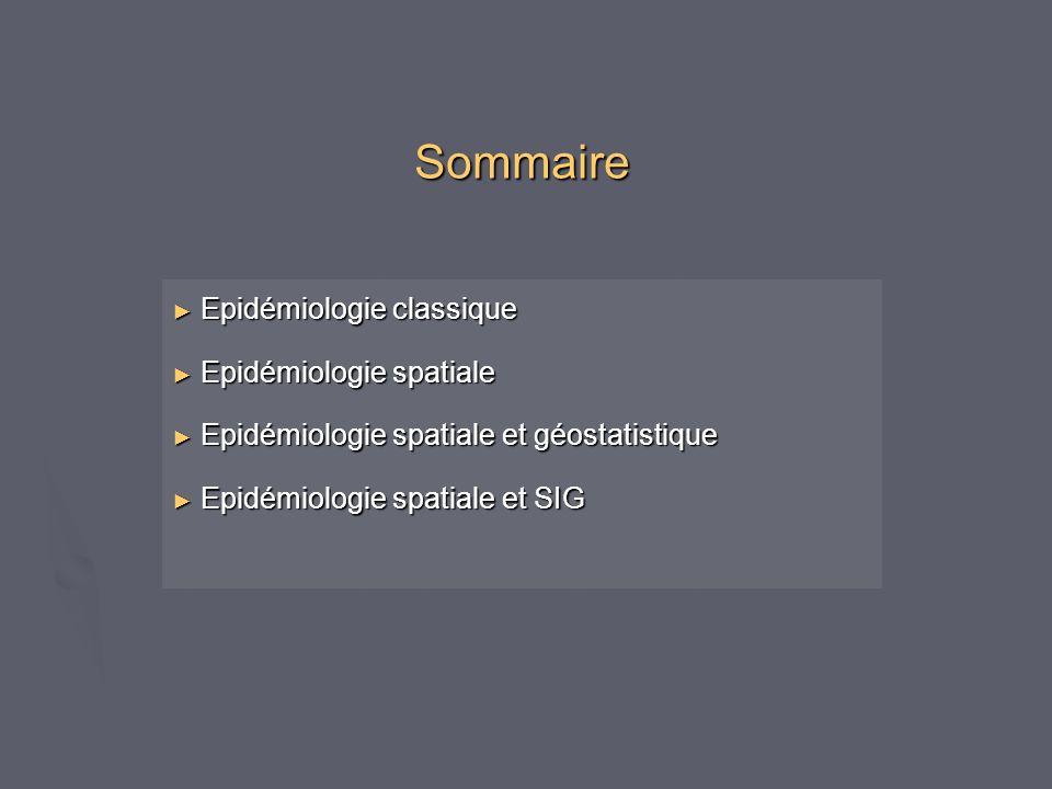 Sommaire Epidémiologie classique Epidémiologie classique Epidémiologie spatiale Epidémiologie spatiale Epidémiologie spatiale et géostatistique Epidém