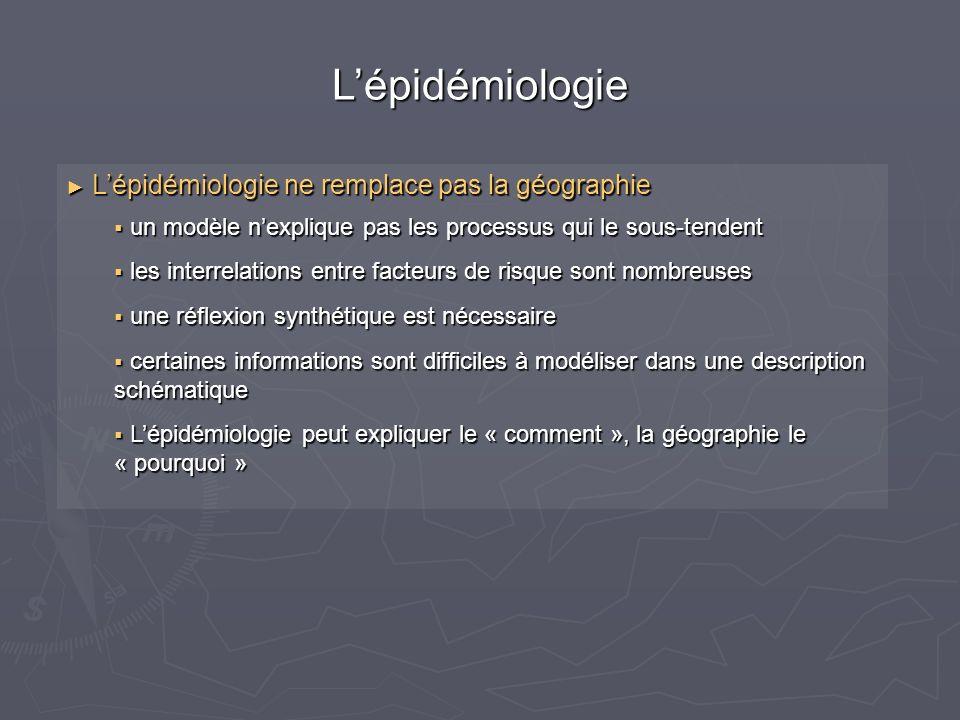 Lépidémiologie Lépidémiologie ne remplace pas la géographie Lépidémiologie ne remplace pas la géographie un modèle nexplique pas les processus qui le