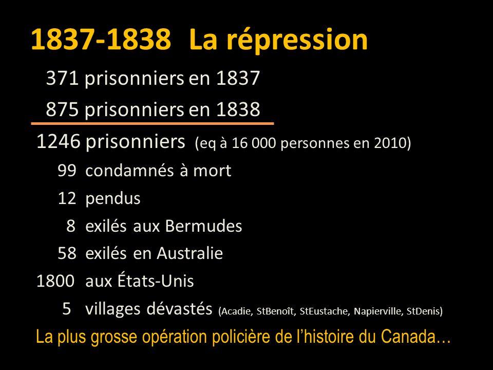 1837-1838 La répression 371 prisonniers en 1837 875 prisonniers en 1838 1246 prisonniers (eq à 16 000 personnes en 2010) 99 condamnés à mort 12 pendus 8 exilés aux Bermudes 58 exilés en Australie 1800 aux États-Unis 5 villages dévastés (Acadie, StBenoît, StEustache, Napierville, StDenis) La plus grosse opération policière de lhistoire du Canada…