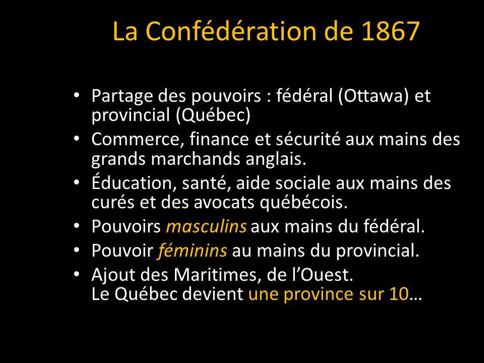 Partage des pouvoirs : fédéral (Ottawa) et provincial (Québec) Commerce, finance et sécurité aux mains des grands marchands anglais.