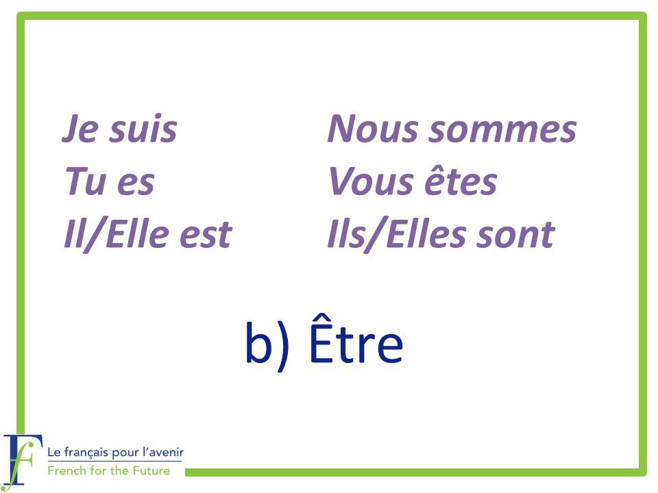 b) Être Je suisNous sommes Tu esVous êtes Il/Elle estIls/Elles sont