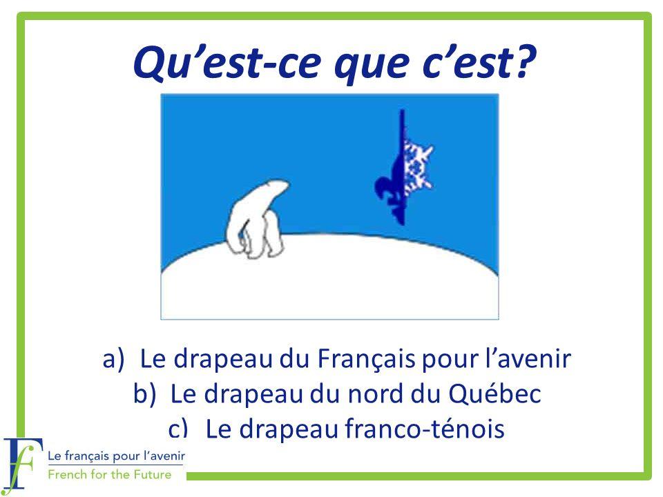 Quest-ce que cest? a)Le drapeau du Français pour lavenir b)Le drapeau du nord du Québec c)Le drapeau franco-ténois