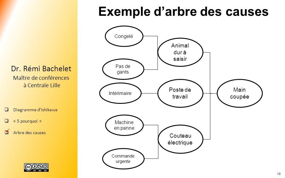 19 Dr. Rémi Bachelet Maître de conférences à Centrale Lille Diagramme dIshikawa « 5 pourquoi » Arbre des causes Main coupée Couteau électrique Poste d