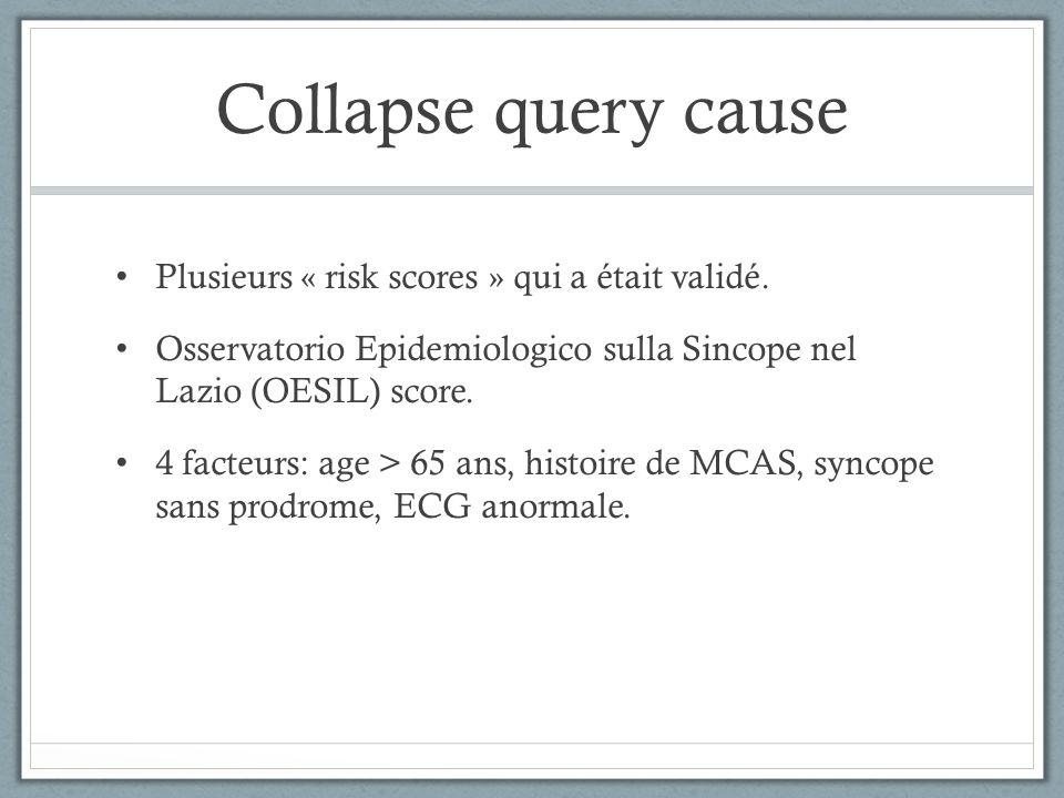 Plusieurs « risk scores » qui a était validé. Osservatorio Epidemiologico sulla Sincope nel Lazio (OESIL) score. 4 facteurs: age > 65 ans, histoire de