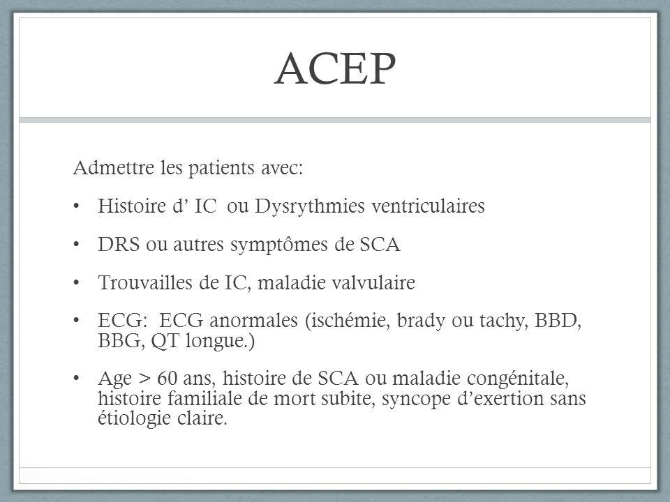ACEP Admettre les patients avec: Histoire d IC ou Dysrythmies ventriculaires DRS ou autres symptômes de SCA Trouvailles de IC, maladie valvulaire ECG: