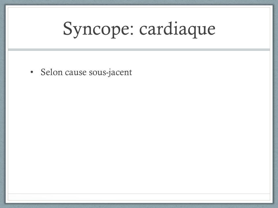 Syncope Il faut avoir plus de recherche et plus de lignes directrices pour savoir comment investiguer un patient avec syncope.