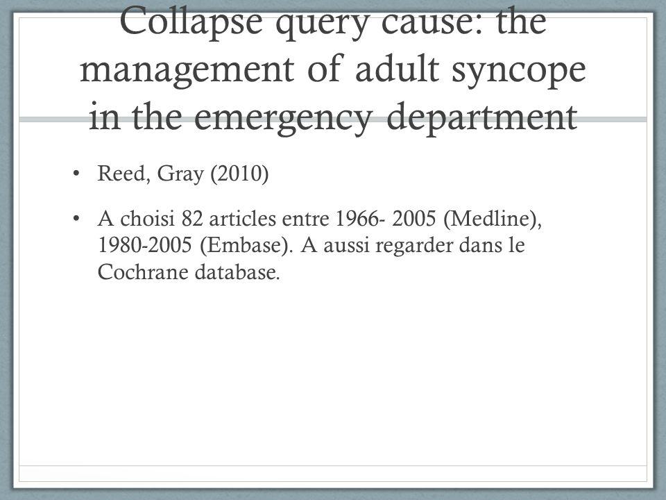 Collapse query cause Histoire Examen physique Hémoglobine Beta-HCG ECG Troponin: pas très utile (diagnostic yield < 1% pour infarctus aigu)
