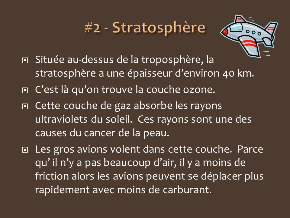 Située au-dessus de la troposphère, la stratosphère a une épaisseur denviron 40 km. Cest là quon trouve la couche ozone. Cette couche de gaz absorbe l