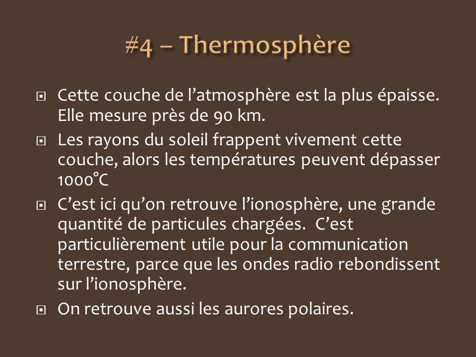 Cette couche de latmosphère est la plus épaisse. Elle mesure près de 90 km. Les rayons du soleil frappent vivement cette couche, alors les température