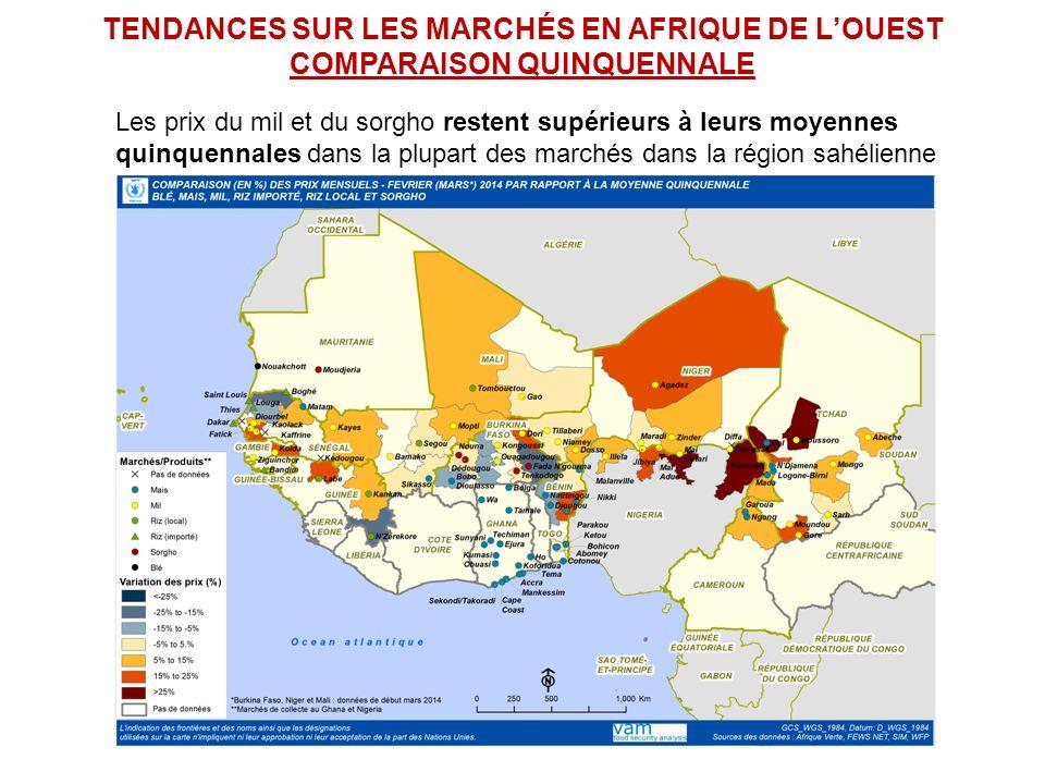 TENDANCES SUR LES MARCHÉS EN AFRIQUE DE LOUEST COMPARAISON QUINQUENNALE Les prix du mil et du sorgho restent supérieurs à leurs moyennes quinquennales dans la plupart des marchés dans la région sahélienne
