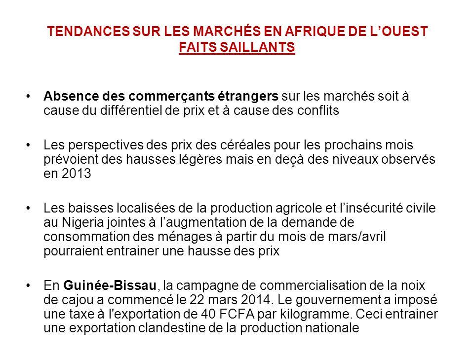 Absence des commerçants étrangers sur les marchés soit à cause du différentiel de prix et à cause des conflits Les perspectives des prix des céréales pour les prochains mois prévoient des hausses légères mais en deçà des niveaux observés en 2013 Les baisses localisées de la production agricole et linsécurité civile au Nigeria jointes à laugmentation de la demande de consommation des ménages à partir du mois de mars/avril pourraient entrainer une hausse des prix En Guinée-Bissau, la campagne de commercialisation de la noix de cajou a commencé le 22 mars 2014.