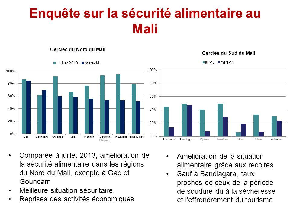 Enquête sur la sécurité alimentaire au Mali Comparée à juillet 2013, amélioration de la sécurité alimentaire dans les régions du Nord du Mali, excepté à Gao et Goundam Meilleure situation sécuritaire Reprises des activités économiques Amélioration de la situation alimentaire grâce aux récoltes Sauf à Bandiagara, taux proches de ceux de la période de soudure dû à la sécheresse et leffrondrement du tourisme Cercles du Nord du Mali Cercles du Sud du Mali
