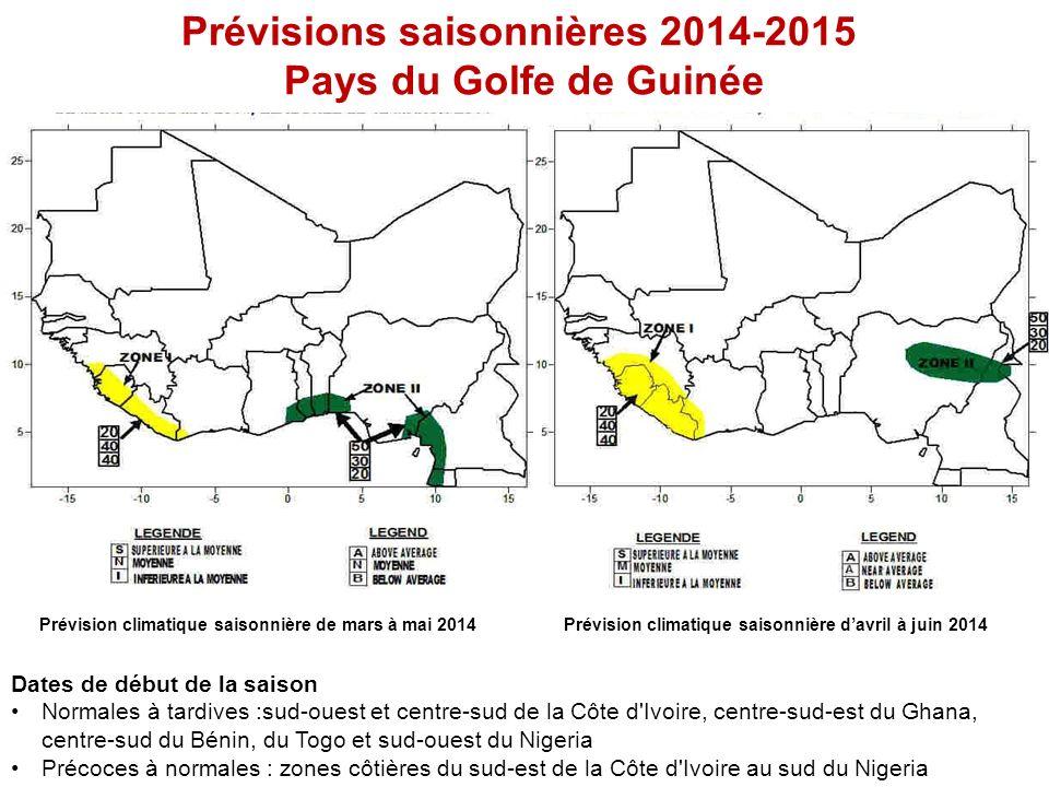 Prévisions saisonnières 2014-2015 Pays du Golfe de Guinée Prévision climatique saisonnière de mars à mai 2014Prévision climatique saisonnière davril à juin 2014 Dates de début de la saison Normales à tardives :sud-ouest et centre-sud de la Côte d Ivoire, centre-sud-est du Ghana, centre-sud du Bénin, du Togo et sud-ouest du Nigeria Précoces à normales : zones côtières du sud-est de la Côte d Ivoire au sud du Nigeria