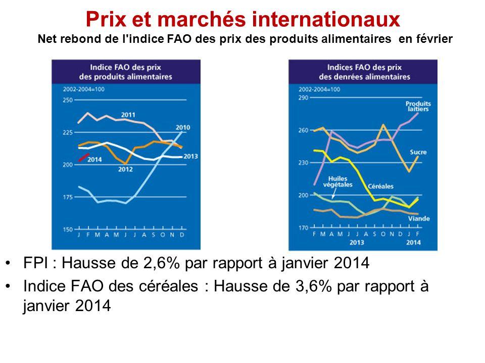 Prix et marchés internationaux Net rebond de l indice FAO des prix des produits alimentaires en février FPI : Hausse de 2,6% par rapport à janvier 2014 Indice FAO des céréales : Hausse de 3,6% par rapport à janvier 2014