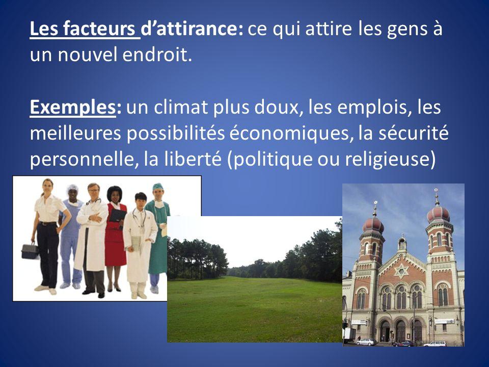 Les facteurs dattirance: ce qui attire les gens à un nouvel endroit. Exemples: un climat plus doux, les emplois, les meilleures possibilités économiqu