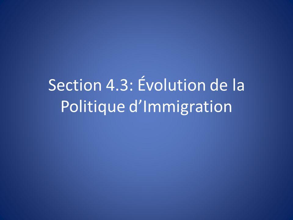 Section 4.3: Évolution de la Politique dImmigration