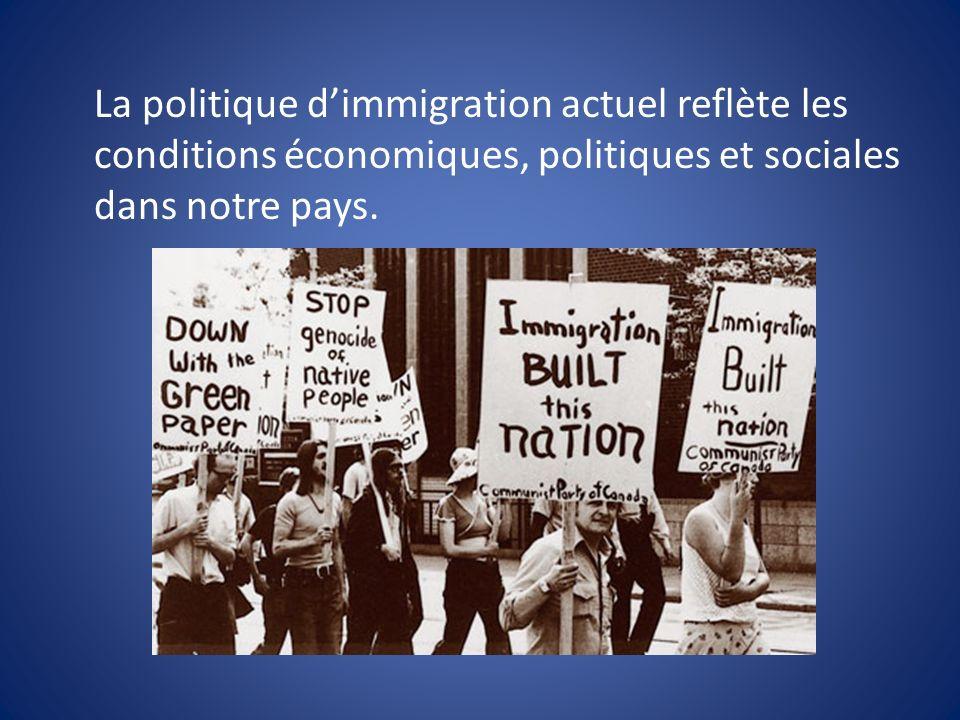 La politique dimmigration actuel reflète les conditions économiques, politiques et sociales dans notre pays.