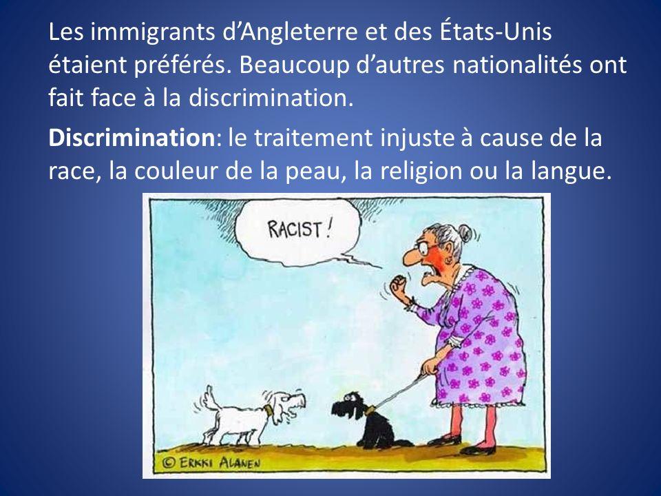 Les immigrants dAngleterre et des États-Unis étaient préférés. Beaucoup dautres nationalités ont fait face à la discrimination. Discrimination: le tra