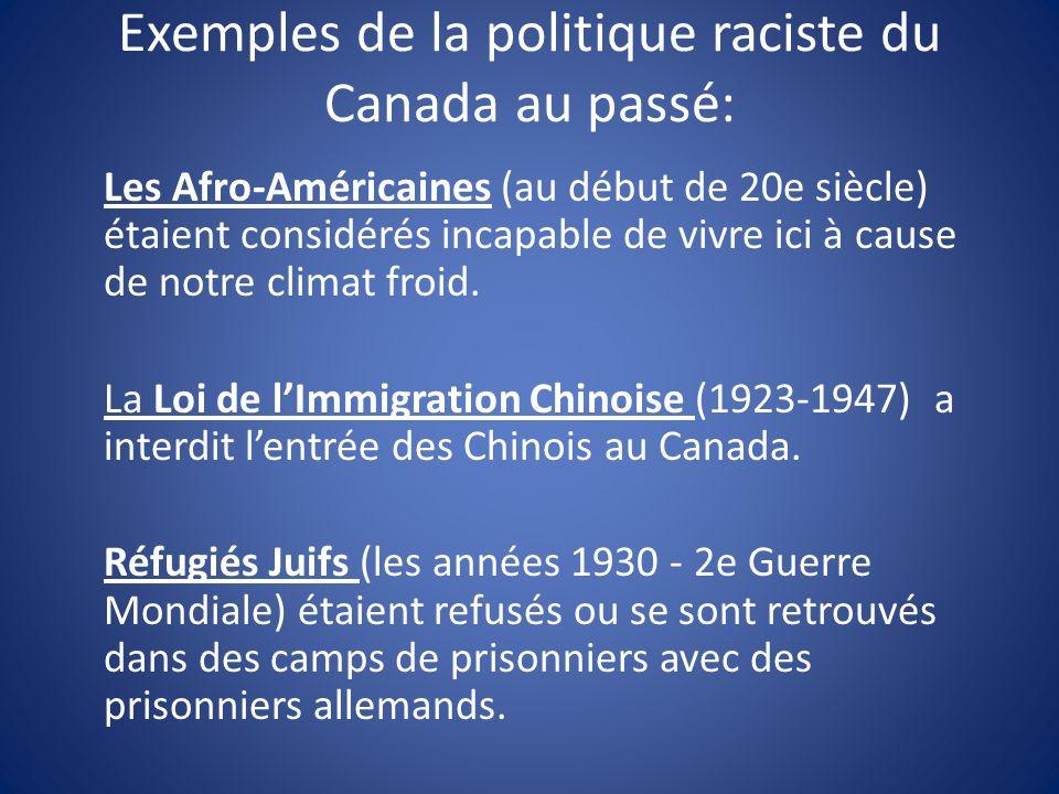 Exemples de la politique raciste du Canada au passé: Les Afro-Américaines (au début de 20e siècle) étaient considérés incapable de vivre ici à cause de notre climat froid.