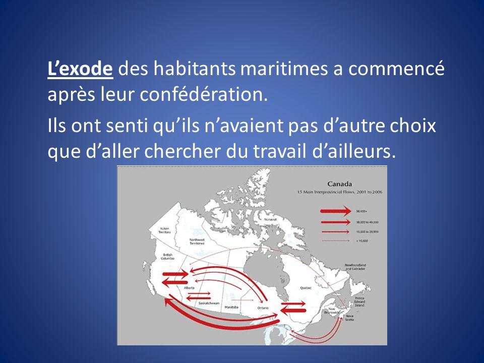 Lexode des habitants maritimes a commencé après leur confédération.
