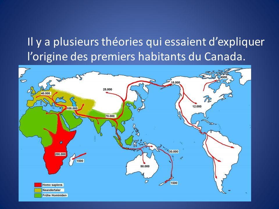 Il y a plusieurs théories qui essaient dexpliquer lorigine des premiers habitants du Canada.
