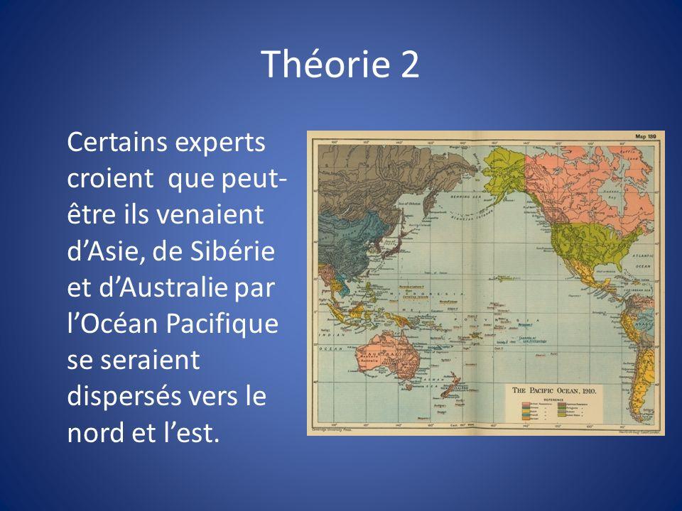 Théorie 2 Certains experts croient que peut- être ils venaient dAsie, de Sibérie et dAustralie par lOcéan Pacifique se seraient dispersés vers le nord et lest.