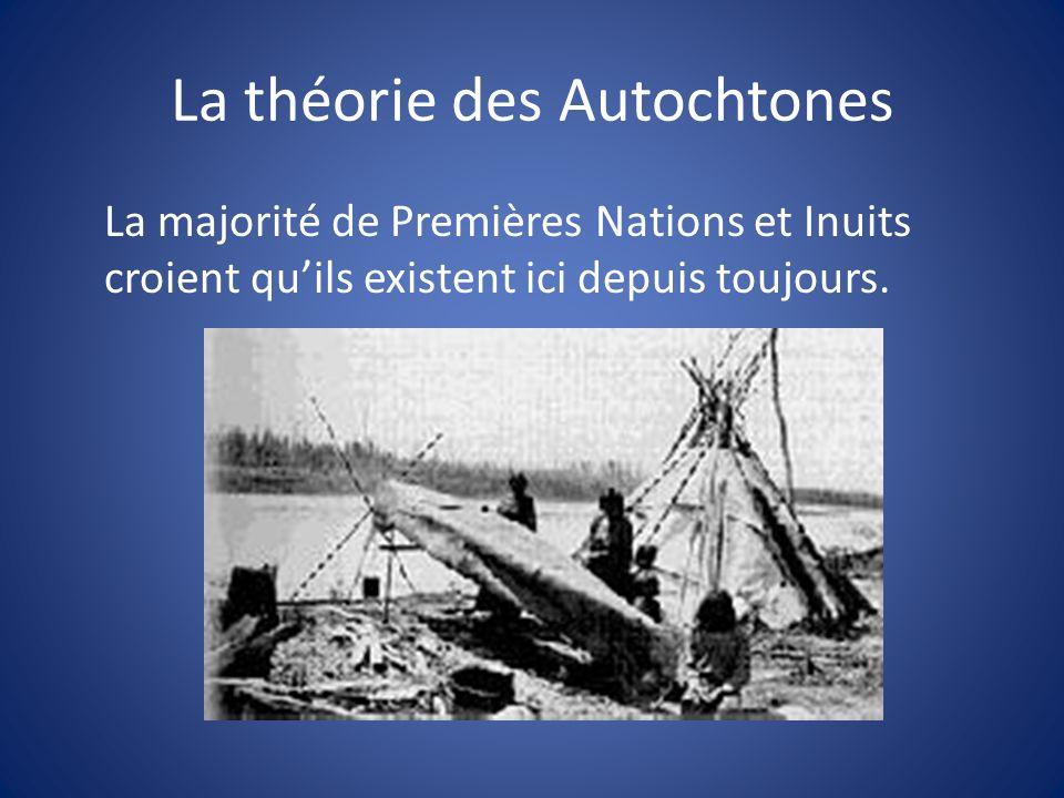La théorie des Autochtones La majorité de Premières Nations et Inuits croient quils existent ici depuis toujours.