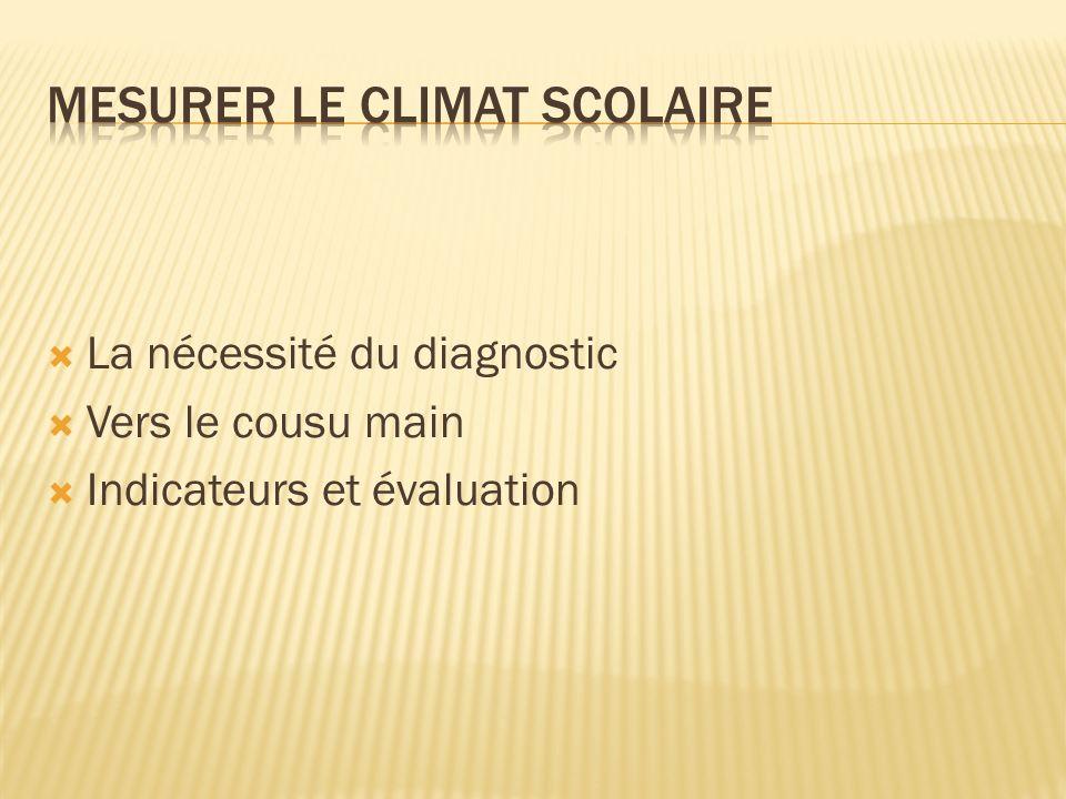 La nécessité du diagnostic Vers le cousu main Indicateurs et évaluation