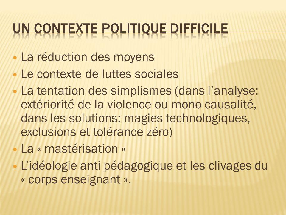 La réduction des moyens Le contexte de luttes sociales La tentation des simplismes (dans lanalyse: extériorité de la violence ou mono causalité, dans