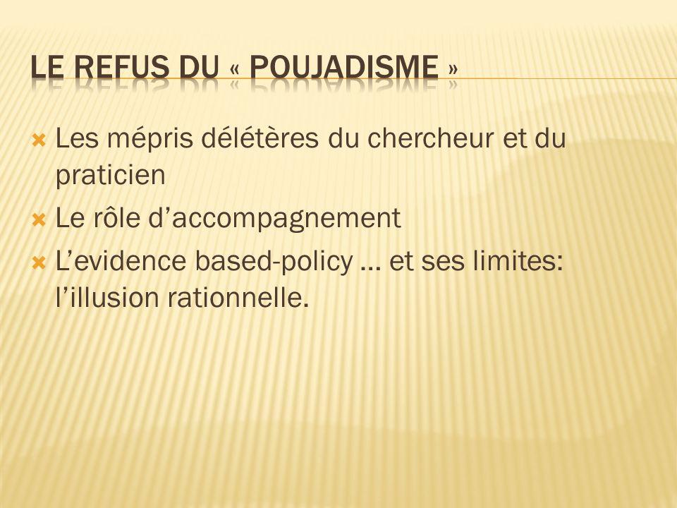 Les mépris délétères du chercheur et du praticien Le rôle daccompagnement Levidence based-policy … et ses limites: lillusion rationnelle.